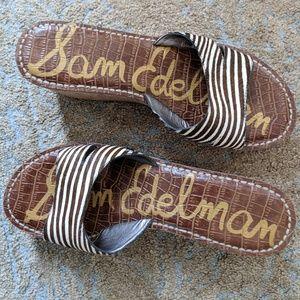 Sam Edelman Sandals 9 Zebra Animal Print Fur Wedge
